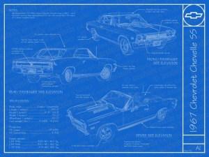 1967 Chevrolet Chevelle SS blueprint poster 18x24