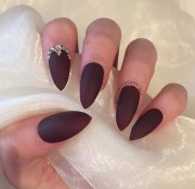 burgundy matte stiletto nails
