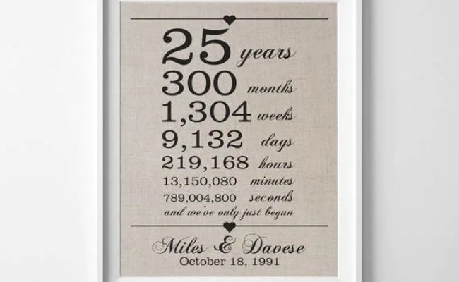 25 Years Together 25th Anniversary Gift For Husband Wife