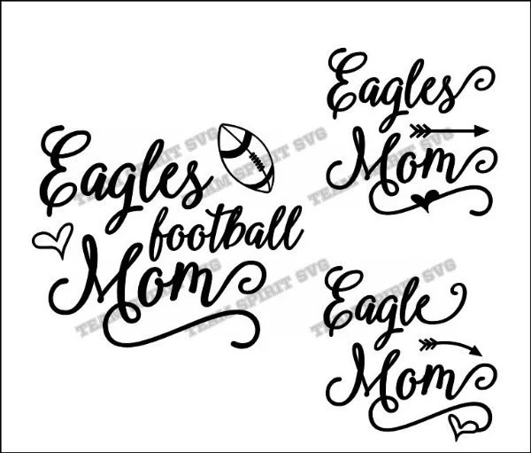 Eagles Script Football Mom SVG, DXF, EPS, Silhouette