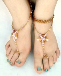 Gold Beaded Barefoot Sandals