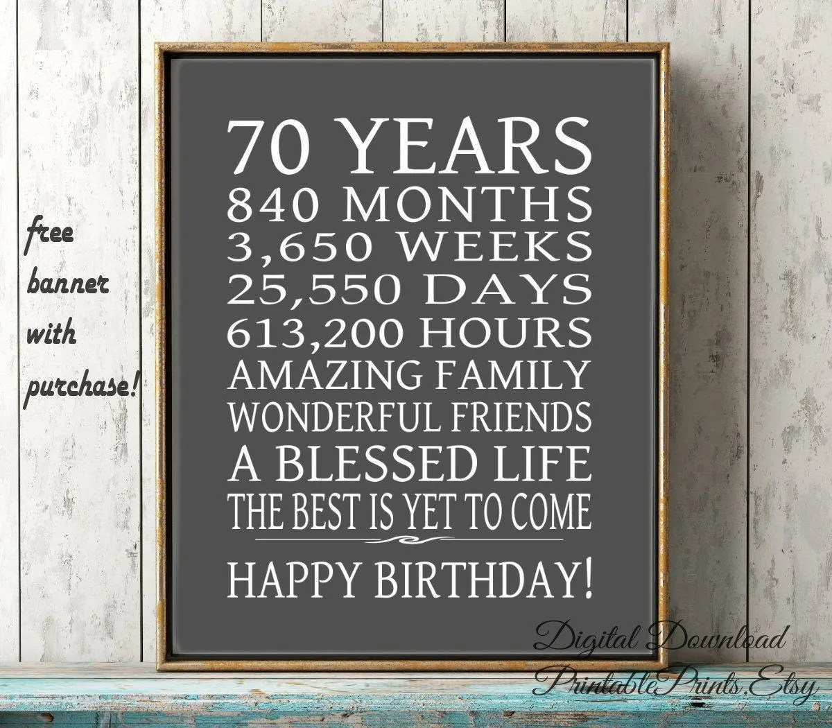 70th Birthday Sign Dad Gift FREE PRINTABLE 70 Year Birthday