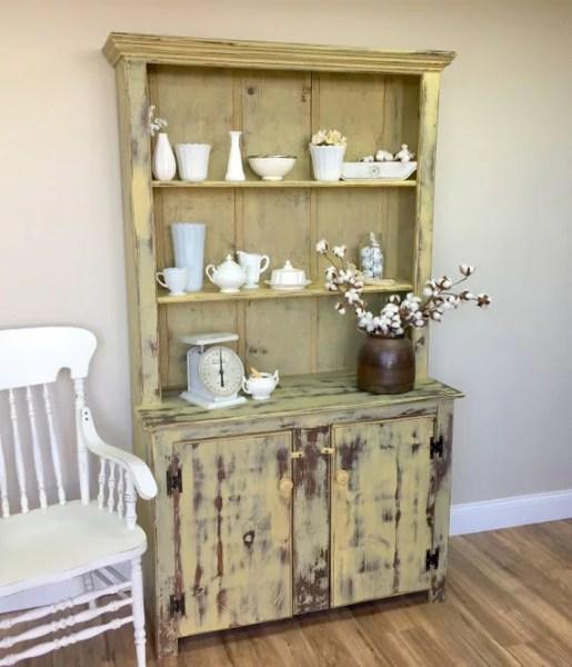 antique farmhouse kitchen cabinets #VINTAGE Farmhouse Hutch - Yellow Cabinet - Fixer Upper Furniture - Antique Kitchen Cupboa - the