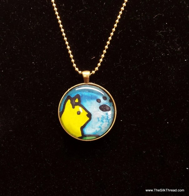 Yellow Cat on Silk, Pendent necklace, Hand painted silk art by artist, round pendant, 38mm, yellow,blue & black kitty, organza gift bag,