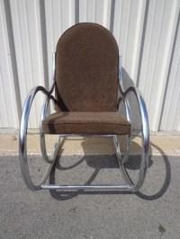 Mid Century Modern Chrome Bentwood Inspired Rocker Armchair