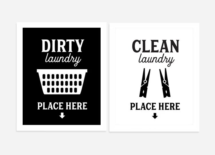Laundry Room Art Dirty and Clean Signs Set of Two Landry