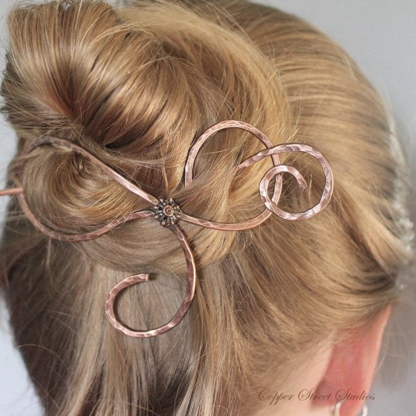 Thick Hair Barrette Metal Copper Jewelry Handmade Hammered