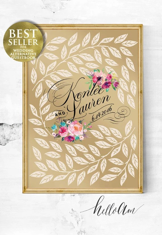 Weddings - Gold Wedding Guest Book Alternative - Wedding Poster - Guest Book Print - Sweetheart Gold - Sparkle Guest Book Wedding