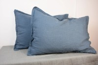 Pair of 100% linen pillow shams, BLUE SHADOW bedding