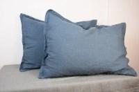 Pair of 100% linen pillow shams, BLUE SHADOW bedding ...