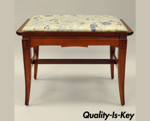 Mahogany Chinese Chippendale Style Vanity Bench Chair Vintage