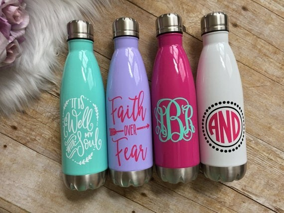 Stainless Steel Water Bottle, Monogrammed Water Bottle, Personalized Water Bottle, Insulated Tumbler, Powdercoated, Gift Idea, Teacher, 17oz