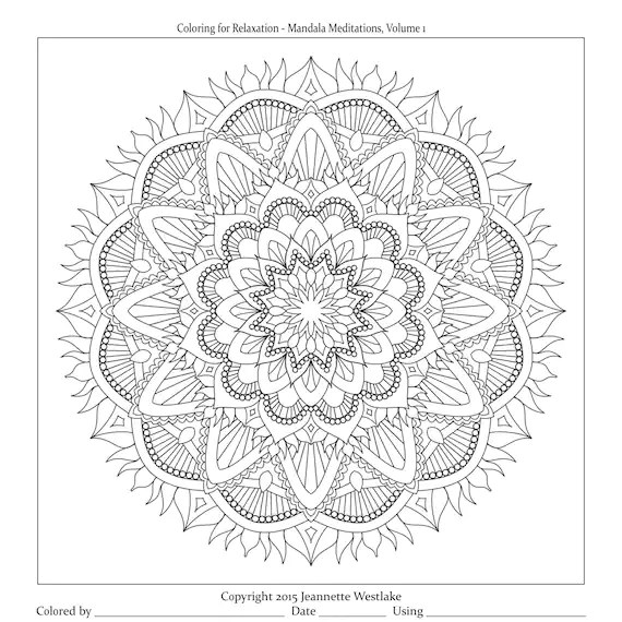 Coloring for Relaxation: Mandala Meditations Vol. 1 complete