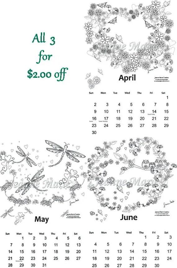 Coloring Calendar 2017 April May June Downloadable