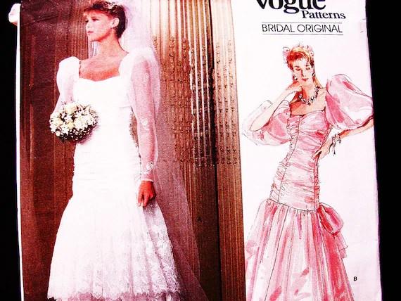 80s Wedding Dress Pattern Vogue Size 12 UNCUT Puff Sleeve