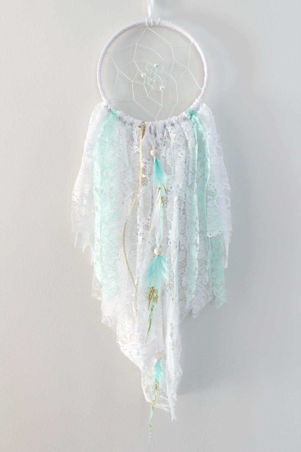 Mint and Gold Dreamcatcher White Dream Catcher Gold Feather