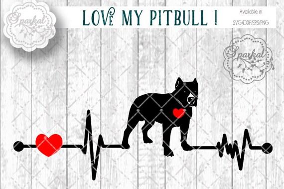 Download Love My PITBull DOG Svg Cut File Heartbeat Stencil Heart