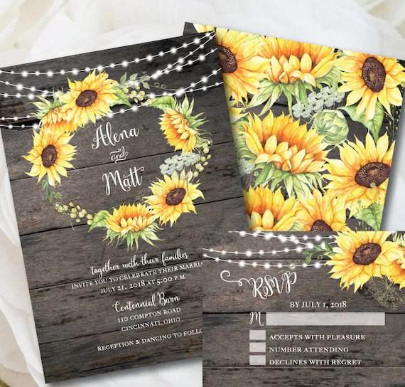 Fall Sunflower Wallpaper Rustic Wedding Invitation Template Sunflower Invitation