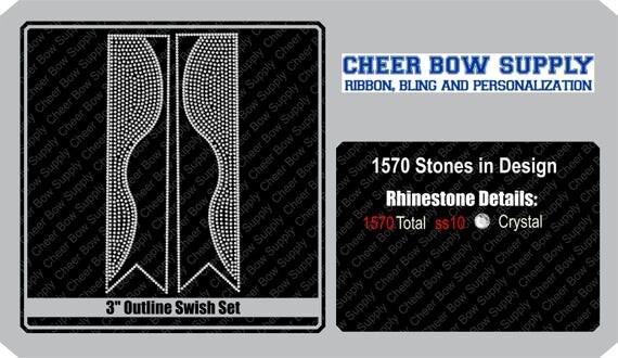 3 Cheer Bow Kick Swish Rhinestone Strip 3 X