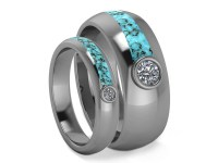 Turquoise Wedding Band Set Matching Moissanite Rings His And