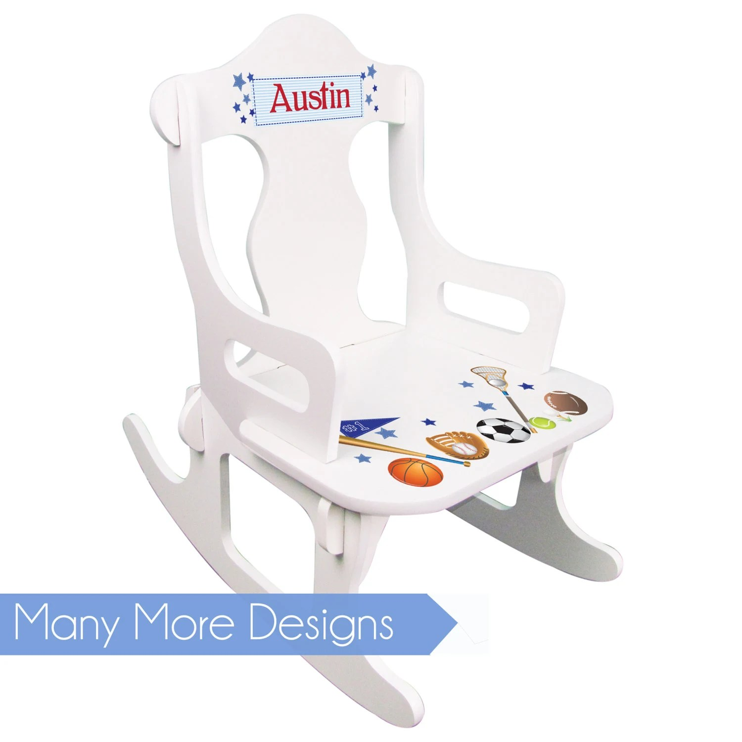 personalized little kid chair with footrest toddler rocking boys white puzzle rocker