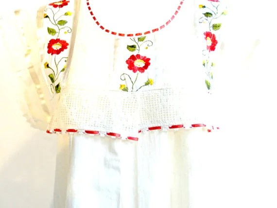 70's White Mexican Dress Embroidered Dress By ZazaofCanada