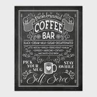 Chalkboard Coffee Bar Wall Art Printable Kitchen Chalk Art