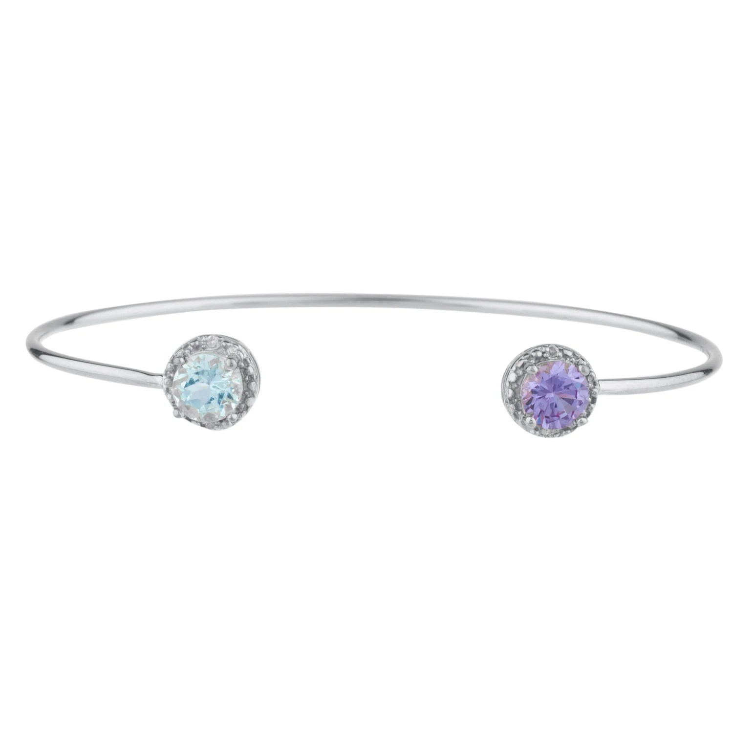 Genuine Aquamarine & Alexandrite Diamond Bangle Round Bracelet