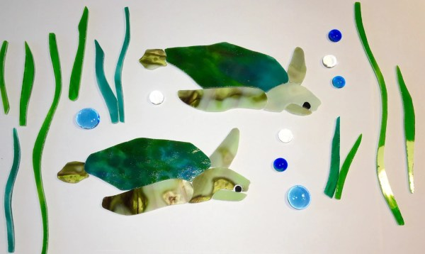 Sea Turtle Pre Cut Stained Glass Mosaic