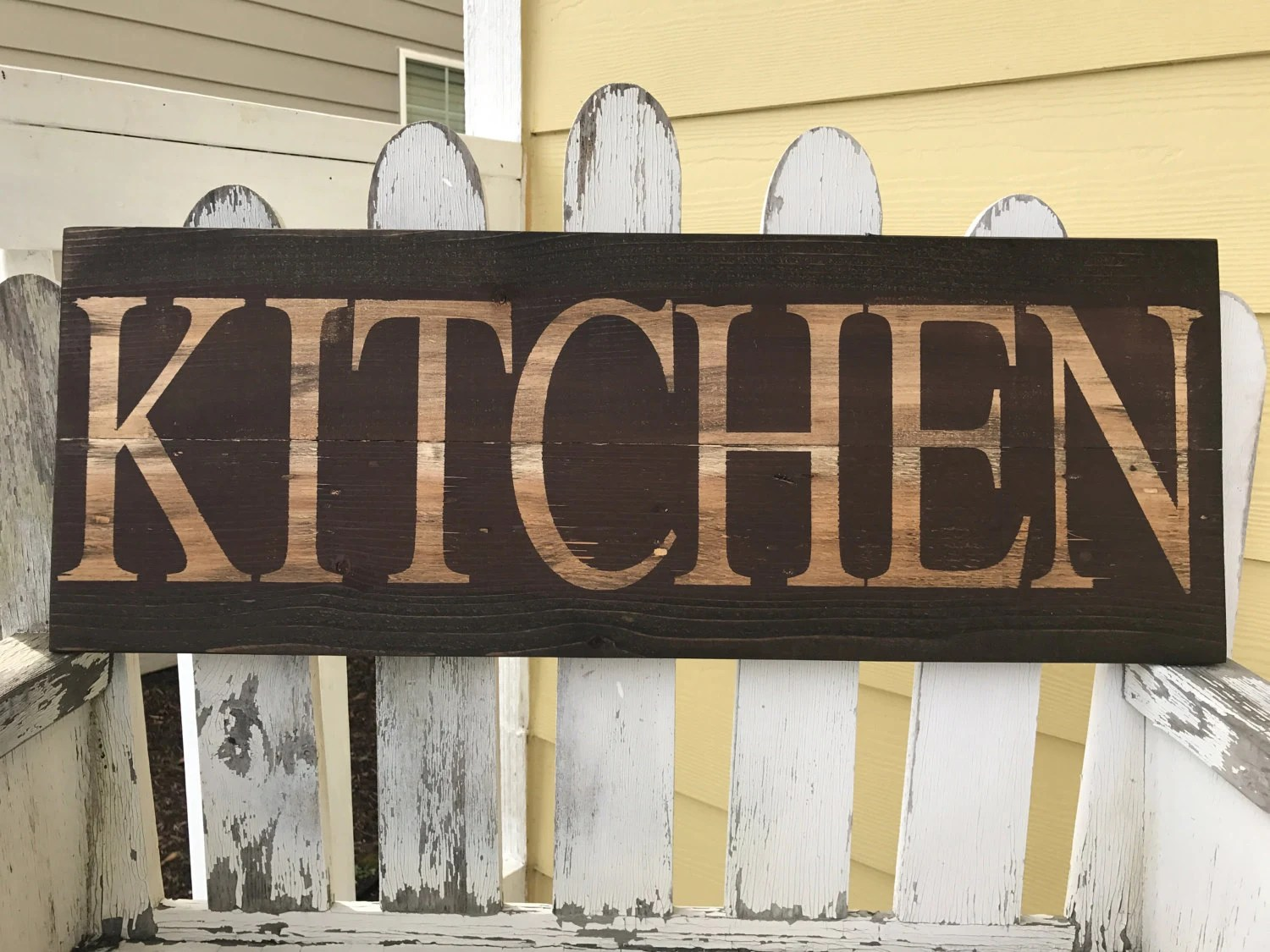 wooden signs for kitchen play distressed sign red brown