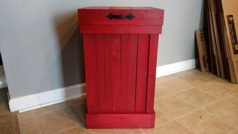 13 gallon kitchen trash can tile for backsplash primitive red farmhouse style wood bin garbage