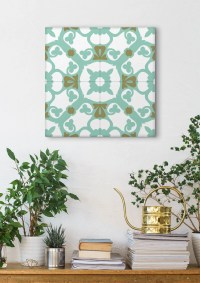 Turquoise Wall Art Stretched Canvas Mosaic Art Tile