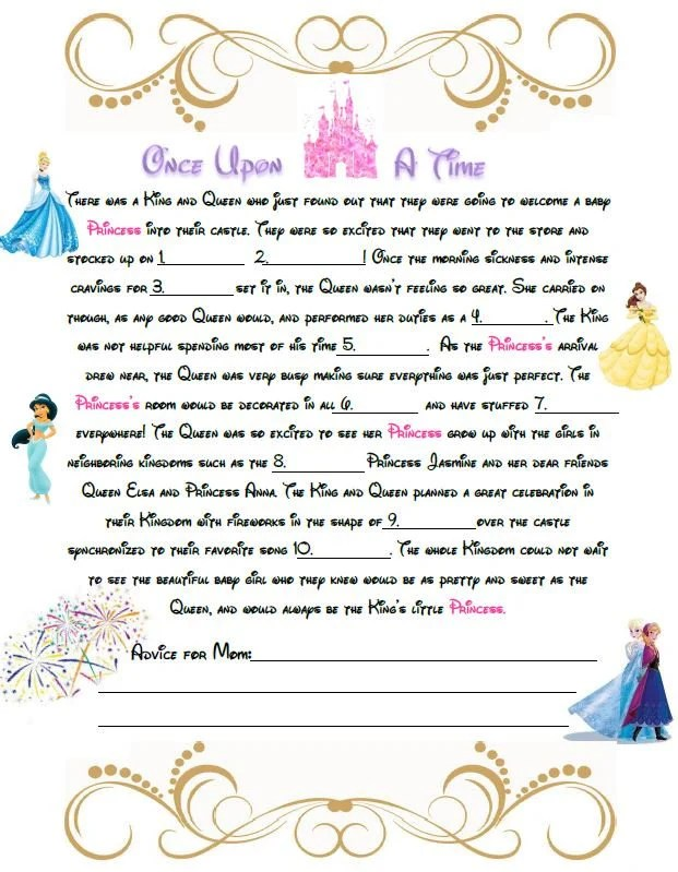 Disney Baby Shower Mad Libs A baby shower game for a little