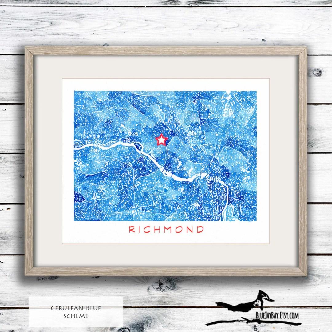 Richmond Virginia - Personalized Map Watercolor - Richmond VA Art Map - RVA City Map Print - Richmond Art Housewarming Gift - Wedding Gift