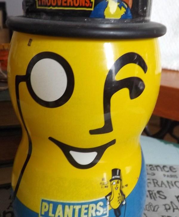 Vintage Planter' Peanuts Peanut Jar With Lid. Top Hat