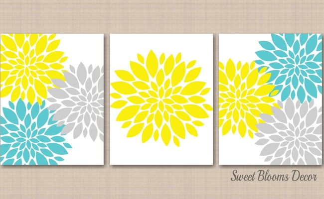 Teal Yellow Decor Etsy