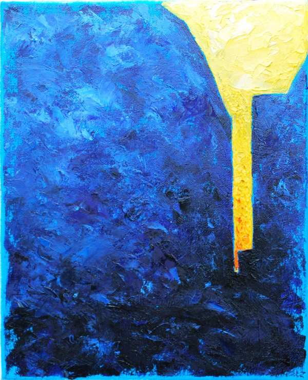 Original Yellow And Blue Abstract Oil Painting Modern Art