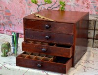 Vintage Wooden Sewing / Spice / Parts Bin / Type Cabinet: 4