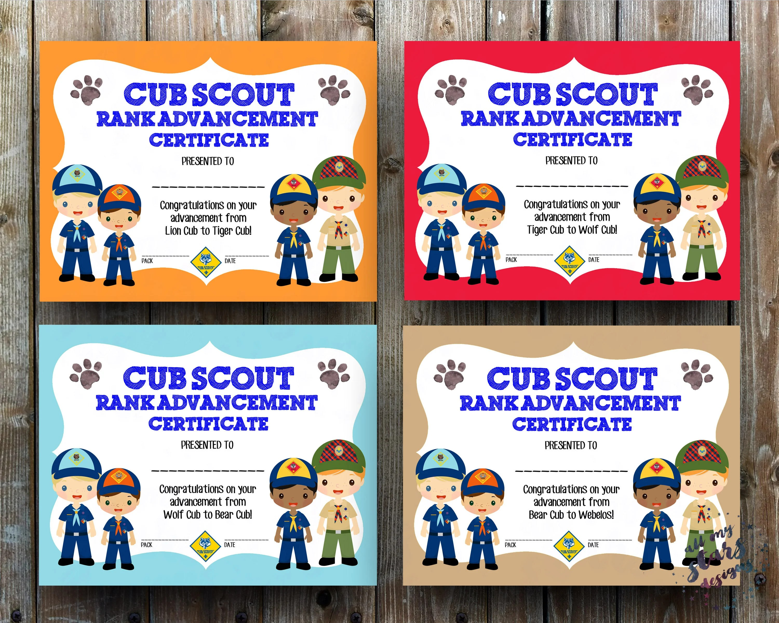 Cub Scout Rank Advancement Certificate Pack 8 5x11