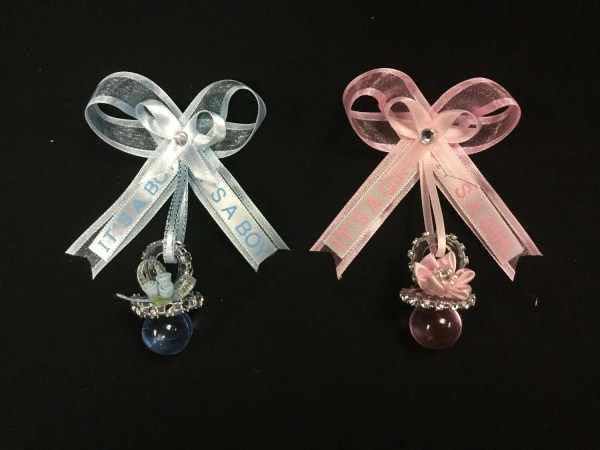 Baby Shower Guest Pin Corsage Boy Girl Pink Blue