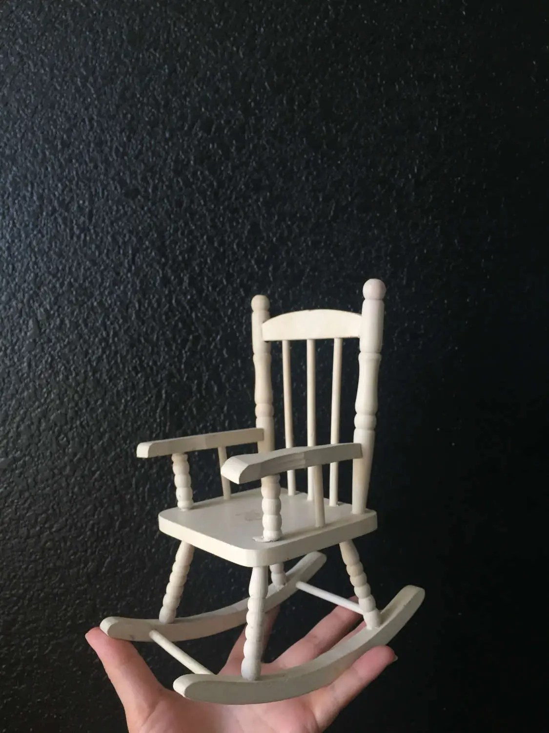 chair planter stand cross back chairs vintage white miniature wood rocking