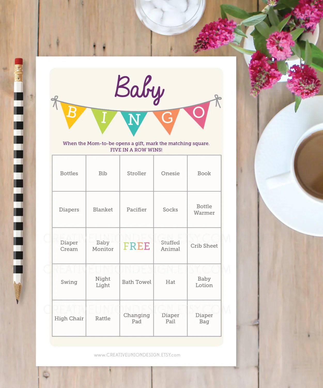 Baby Shower Bingo Game 50 Unique Game Sheets Bingo Baby