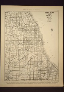Chicago Map Street Illinois 1930s