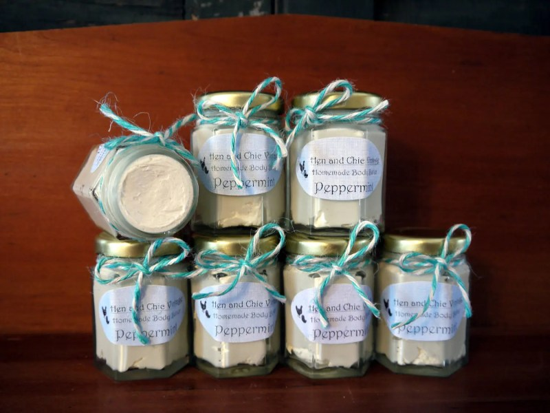 Natural Handmade Body Butter No Artificial Dyes or Flavors. Organic. Beneficial Oils of Lavender Peppermint Rosemary Eucalyptus Vanilla