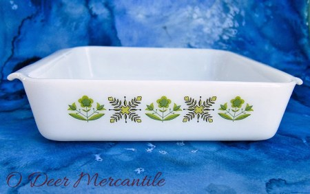 Anchor Hocking Vintage Fire King Meadow Green 8 Inch Square Casserole Dish