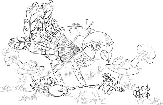 mechanical bullfinch colouring page