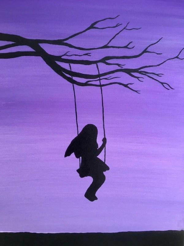 Girl Swing Painting Swinging Tree Silhouette Handmade