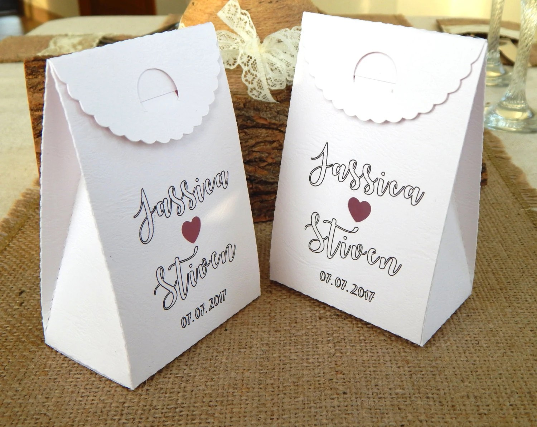 Set Of 10 Pcs. Personalized Wedding Favor Boxes Custom Favor