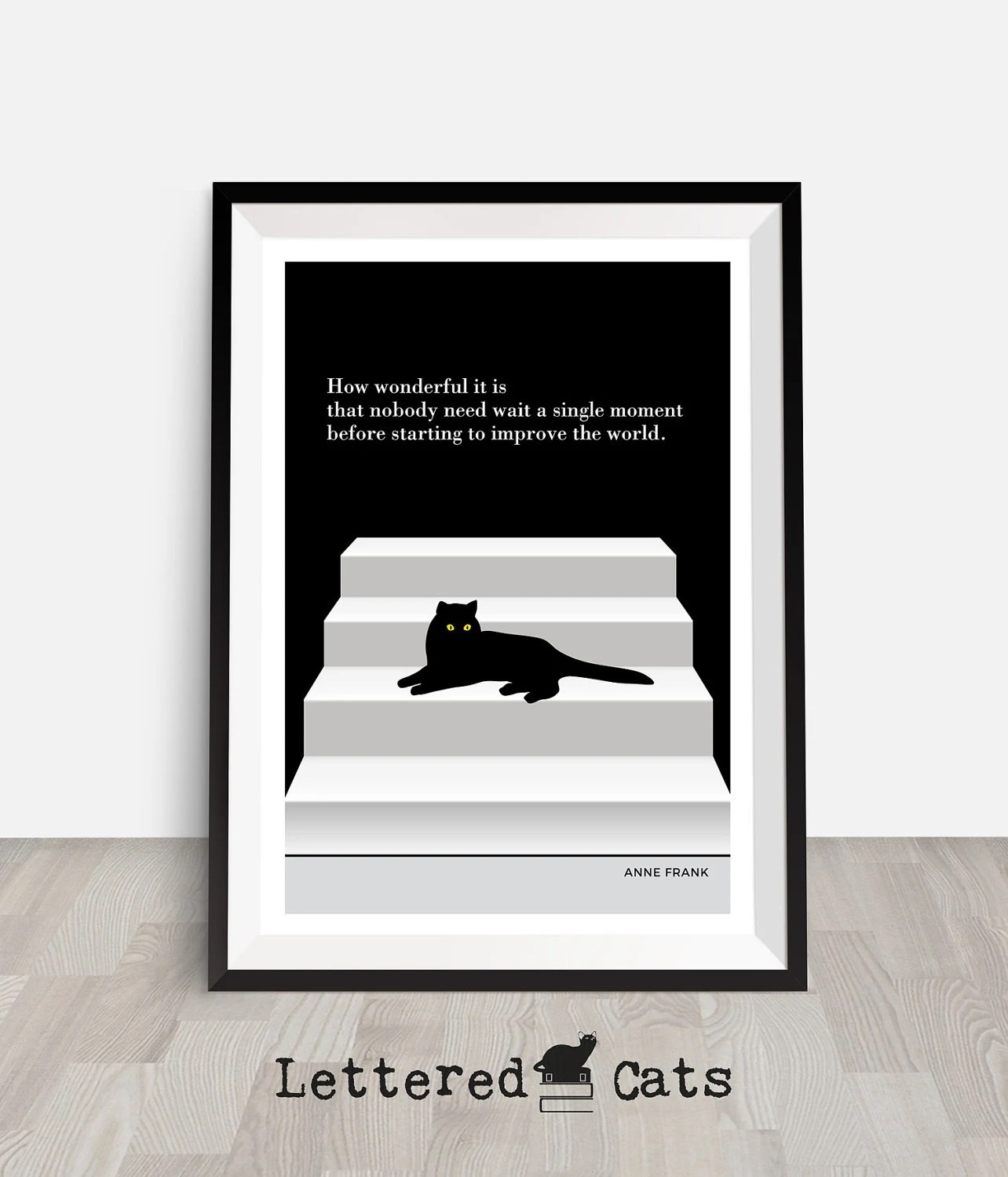 Anne Frank Cat Poster Cat Quote Printable Black Cat Art