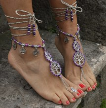 Purple Barefoot Sandals Foot Jewelry